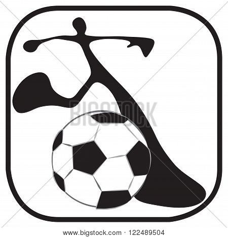 Shadow man to start the game in soccer team just kicking ball symbol and logo graphic design