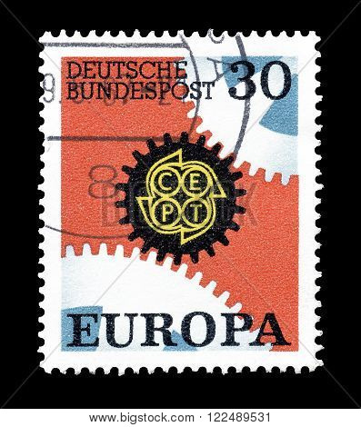 GERMANY - CIRCA 1967 : Cancelled postage stamp printed by Germany, that shows CEPT stamp.