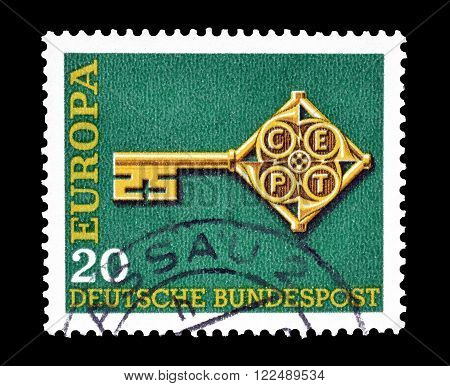 GERMANY - CIRCA 1968 : Cancelled postage stamp printed by Germany, that shows CEPT stamp.