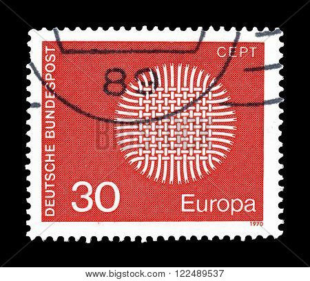 GERMANY - CIRCA 1970 : Cancelled postage stamp printed by Germany, that shows CEPT stamp.
