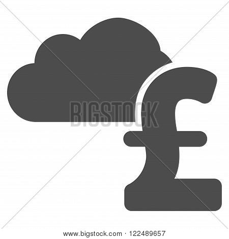 Cloud Pound Banking vector icon. Cloud Pound Banking icon symbol. Cloud Pound Banking icon image. Cloud Pound Banking icon picture. Cloud Pound Banking pictogram. Flat cloud pound banking icon.