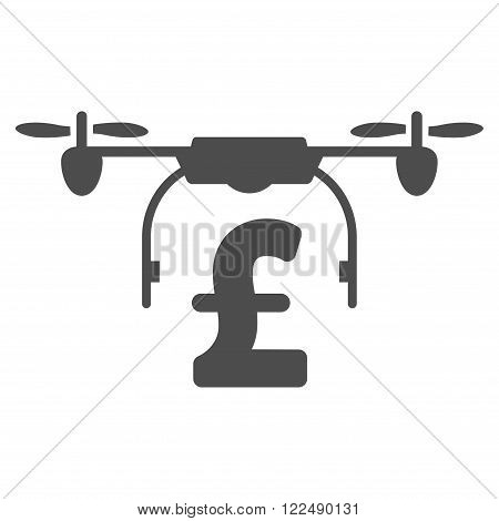Drone Pound Business vector icon. Drone Pound Business icon symbol. Drone Pound Business icon image. Drone Pound Business icon picture. Drone Pound Business pictogram. Flat drone pound business icon.