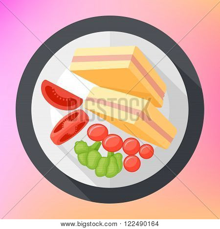 club sandwich with tomatoes and broccoli top view flat long shadow style vector icon. Modern flat pictogram. triangular club sandwich toast with tometoes.
