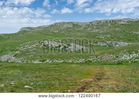 Beautiful spring landscape on a Chatyr-Dah mountainous massif, Crimean peninsula