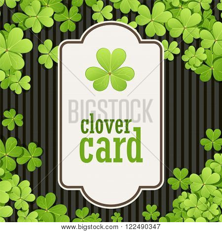 St Patrick's Day background. Vector illustration for lucky spring design with shamrock. Green clover border and square frame. Ireland symbol pattern. Irish header for web