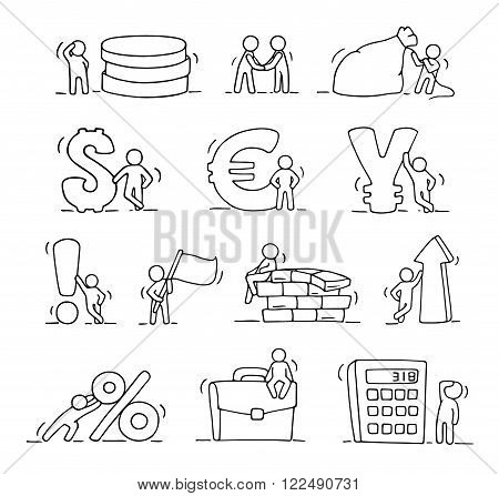 Finance icons set of sketch working little people with arrow money currency. Doodle cute miniature scenes of workers. Hand drawn cartoon vector illustration for business and finance design infographic.