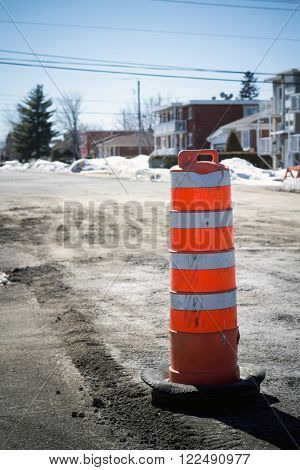road cone on road repair Sorel-Tracy Quebec Canada