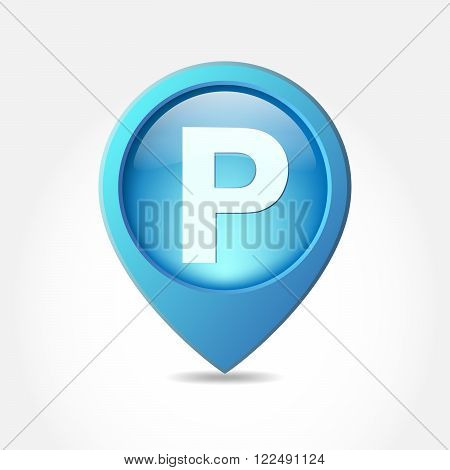 Parking lot sign - vector illustration. Parking pointer icon on white background. Blue map pointer for parking