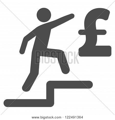 Pound Business Steps vector icon. Pound Business Steps icon symbol. Pound Business Steps icon image. Pound Business Steps icon picture. Pound Business Steps pictogram. Flat pound business steps icon.