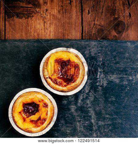 Pasteis de nata - typical Portuguese egg tart pastries / egg tart / sweet and delicious dessert