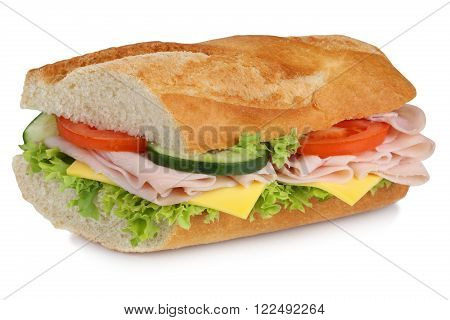 Sub Sandwich Baguette With Ham For Breakfast Isolated