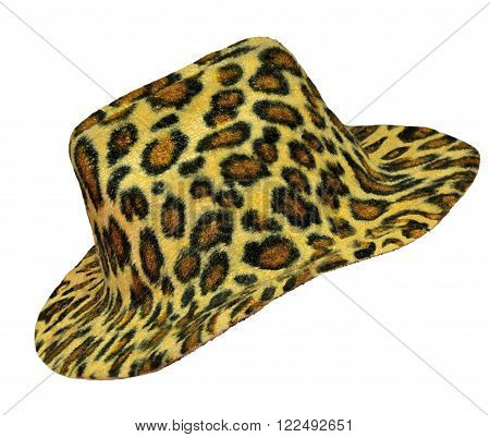 Ladie's hat of leopard color close up isolated on white background