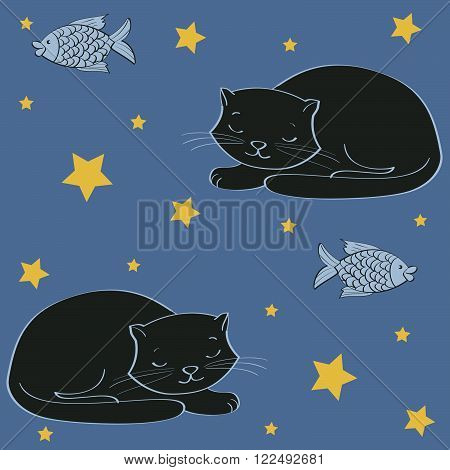 sleeping black cat and fish. seamless pattern vector illustration.