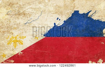 Philippines flag with some soft highlights and folds