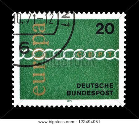 GERMANY - CIRCA 1971 : Cancelled postage stamp printed by Germany, that shows CEPT stamp.