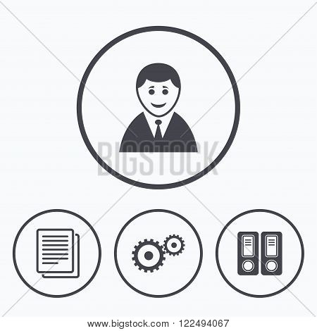 Accounting workflow icons. Human silhouette, cogwheel gear and documents folders signs symbols. Icons in circles.