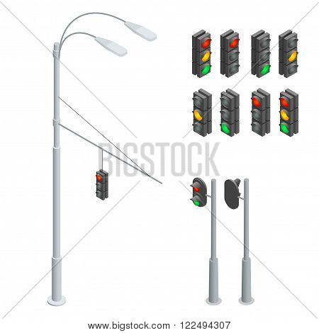 Traffic light. Traffic light icons set. Traffic light 3d isometric flat illustration. Flat 3d isometric city street urban objects icon set. Traffic light, street lights