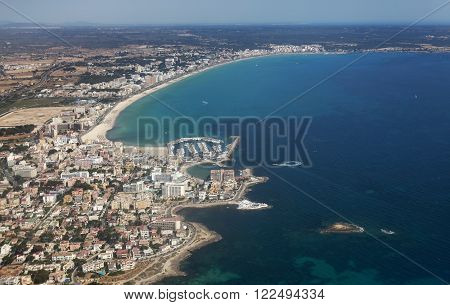 Areal view of residential zone in the island of Mallorca