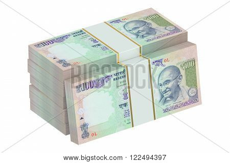 packs of Indian rupee isolated on white background