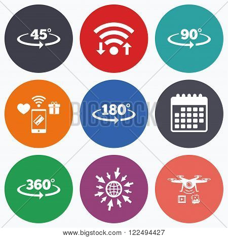 Wifi, mobile payments and drones icons. Angle 45-360 degrees icons. Geometry math signs symbols. Full complete rotation arrow. Calendar symbol.