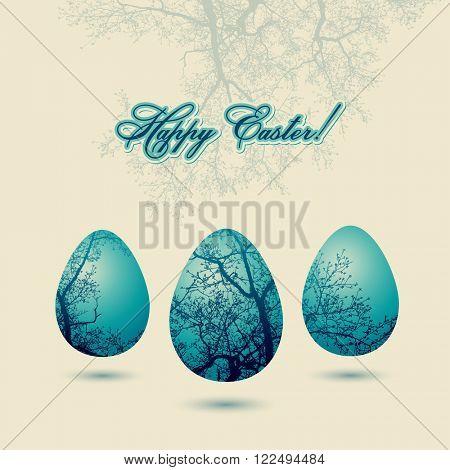 Happy Easter congratulation card, vector illustration