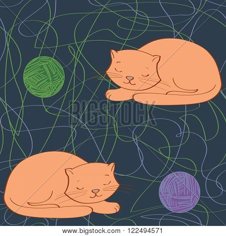 Cute ginger cat sleeping pattern. seamless pattern vector illustration.