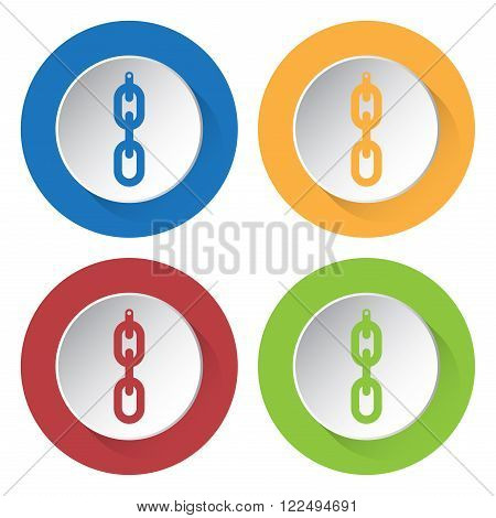 set of four colored icons - hanging chain with hole