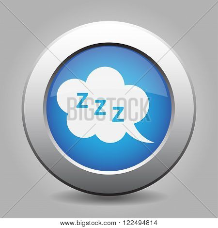 blue metal button - with white ZZZ speech bubbles
