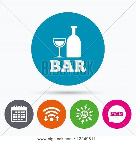 Wifi, Sms and calendar icons. Bar or Pub sign icon. Wine bottle and Glass symbol. Alcohol drink symbol. Go to web globe.