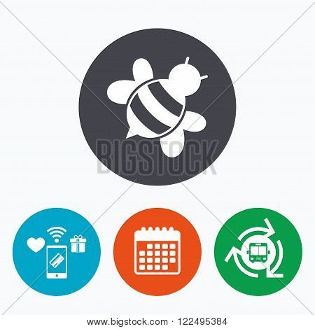 Bee sign icon. Honeybee or apis with wings symbol. Flying insect diagonal. Mobile payments, calendar and wifi icons. Bus shuttle.