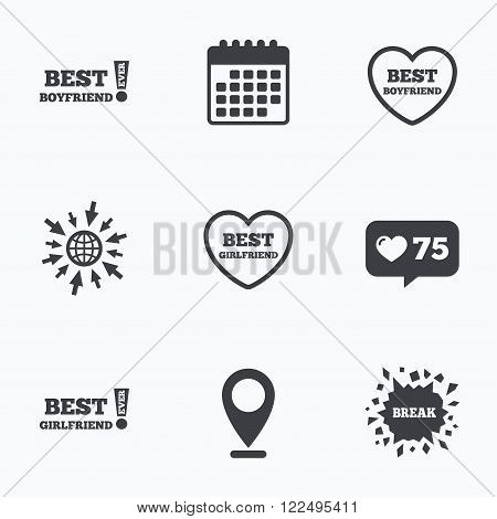 Calendar, like counter and go to web icons. Best boyfriend and girlfriend icons. Heart love signs. Awards with exclamation symbol. Location pointer.