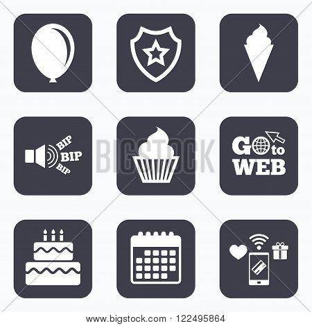 Mobile payments, wifi and calendar icons. Birthday party icons. Cake with ice cream signs. Air balloon symbol. Go to web symbol.
