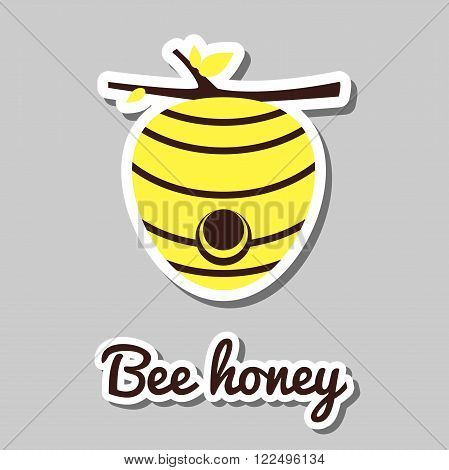 House of bees. Sticker with beehive on gray background. Vector illustration.