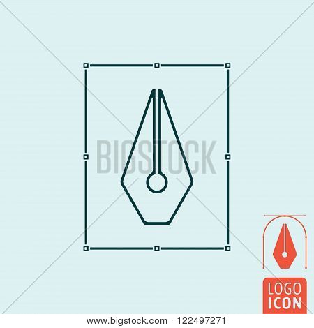 Pen icon. Pen symbol. Fountain pen icon isolated. Vector illustration