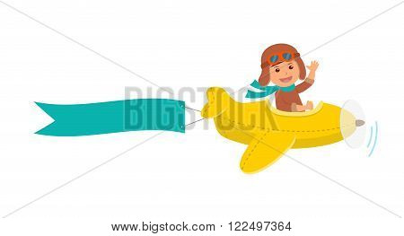 Cute boy pilot flies on a yellow plane in the sky. Air adventure. Isolated cartoon vector illustration.