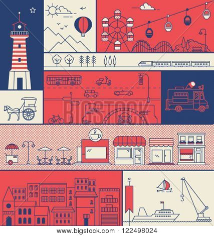CITY IN LINE ART, FLAT ICONS OUTLINE STYLE. Editable vector illustration file.