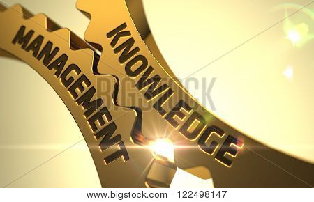 Knowledge Management on the Mechanism of Golden Cogwheels with Lens Flare. Knowledge Management on Golden Gears with Glow Effect. 3D.