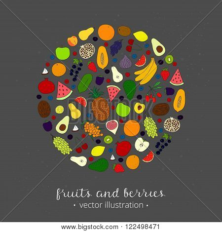 Hand drawn fruits and berries in circle shape. Pineapple, strawberry, acai, goji, kiwi, apple, grapefruit, banana, blackberry, seabuckthorn, cherry, lemon, blackcurrant, fig, papaya, grape, peach.