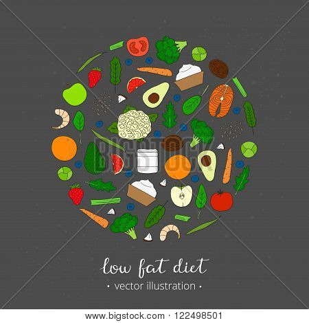 Foods for weight loss. Low fat diet concept. Hand drawn products in circle. Broccoli, salmon, shrimps, arugula, cauliflower, avocado, coconut oil, spinach, yougurt, carrot, strawberry, blueberry.