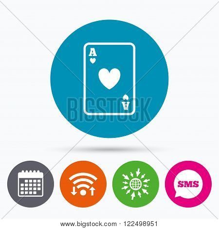 Wifi, Sms and calendar icons. Casino sign icon. Playing card symbol. Ace of hearts. Go to web globe.