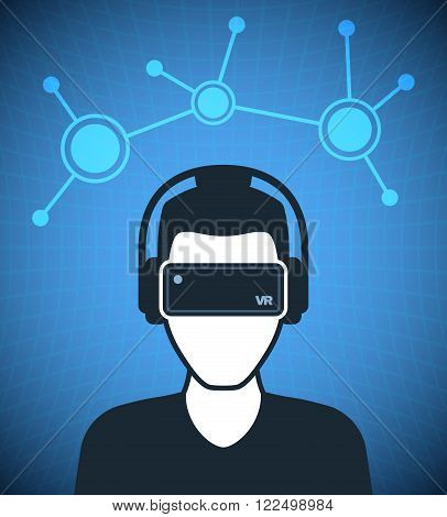 Virtual reality icon, men with glasses and headset in cyberspace