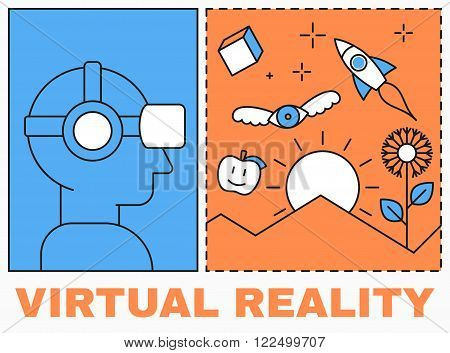 Virtual reality icon, men with glasses and headset, virtual reality scene