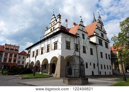 Levoca PRESOV SLOVAKIA -MAY 01 2014: Old historic building with fresco on the central square in Levoca Slovakia.