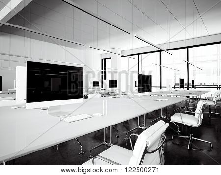 Image workspace loft with panoramic windows.Generic design computers and generic white furniture in contemporary conference room meeting.Open space office for coworking.