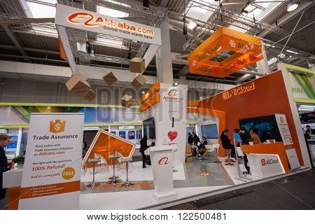 HANNOVER GERMANY - MARCH 14 2016: Booth of Alibaba Group at CeBIT information technology trade show in Hannover Germany on March 14 2016.