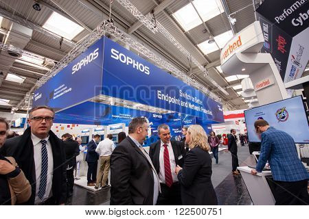 HANNOVER, GERMANY - MARCH 14, 2016: Booth of Sophos company at CeBIT information technology trade show in Hannover, Germany on March 14, 2016.