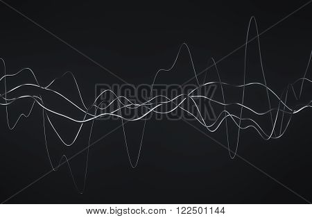 Abstract 3d rendering of glossy wavy lines. Dark background with surreal waves in empty space. Futuristic shape.
