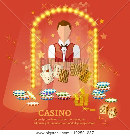 Welcome to the casino set ector illustration