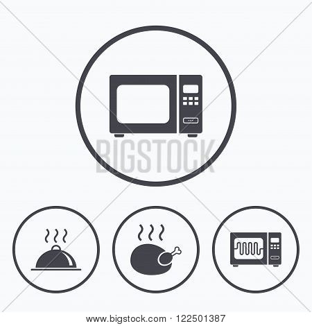 Microwave grill oven icons. Cooking chicken signs. Food platter serving symbol. Icons in circles.