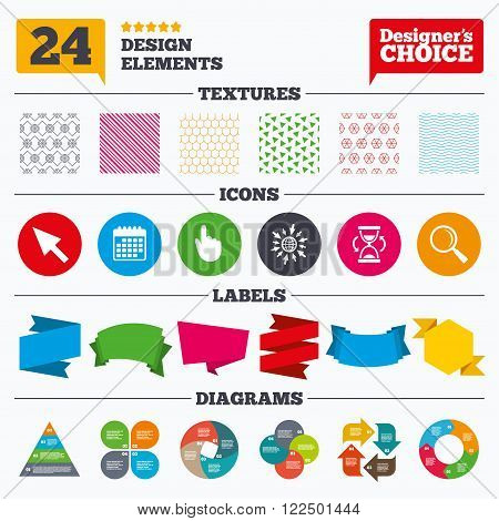 Banner tags, stickers and chart graph. Mouse cursor and hand pointer icons. Hourglass and magnifier glass navigation sign symbols. Linear patterns and textures.